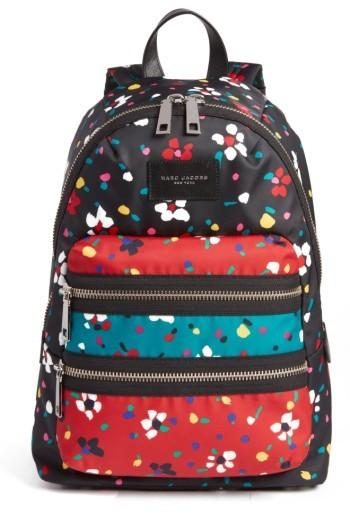 Marc Jacobs Biker Floral Print Backpack - Black