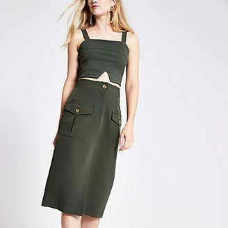 River Island Khaki utility pencil skirt