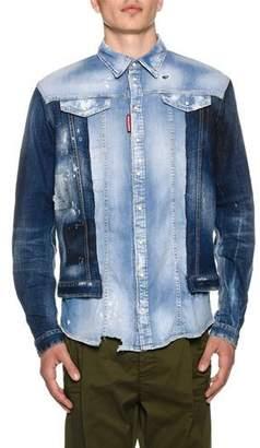 DSQUARED2 Men's Mixed-Wash Denim Shirt w/ Jean Jacket Combo