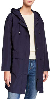 Eileen Fisher Plus Size Organic Cotton/Nylon Hooded Long Jacket