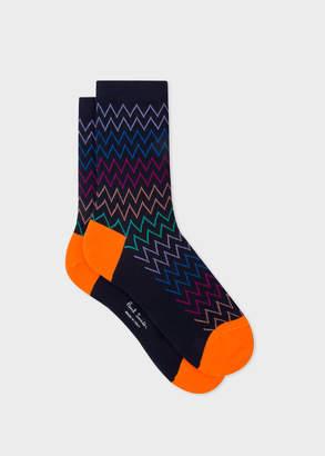 Paul Smith Women's Dark Navy Multi-Coloured Zig-Zag Stripe Socks