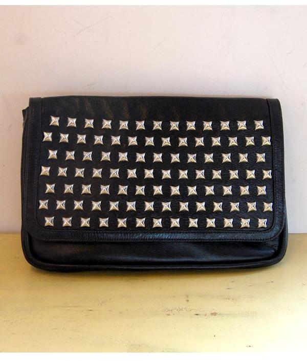 Skamandros - Black Leather Silver Studded Clutch