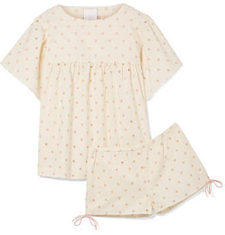 Three J NYC Sadie Broderie Anglaise Cotton Pajama Set - Cream