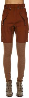 Chloé Brown Wool Cargo Leggins