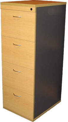 Four Drawer Filing Cabinet with Lock Colour: Beech / Graphite