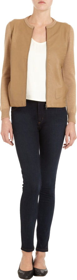 Barneys New York Leather Front Cardigan