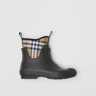 Burberry Vintage Check Neoprene and Rubber Rain Boots , Size: 38, Black