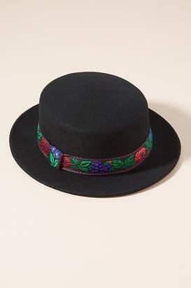 Embroidered-Brim Boater Hat