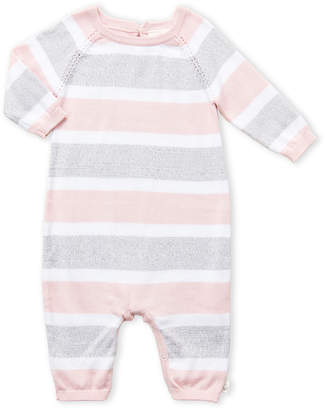 Cuddl Duds Newborn Girls) Pink Striped Coveralls