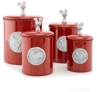 """Old Dutch International """"Red Rooster"""" Canister Set with Fresh Seal Covers, 4 Piece"""