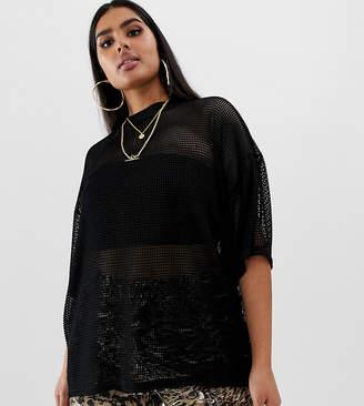 4fdbe7e4c6 Asos DESIGN Curve oversized mesh t-shirt