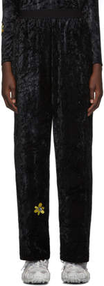 Perks And Mini Black Velvet Flower Embroidery Lounge Pants