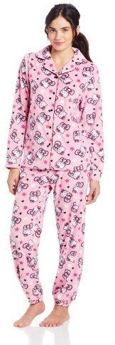 Hello Kitty Junior's Bows and Stars Print Fleece Pajama Set