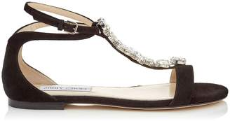 Jimmy Choo Averie Crystal Suede Sandals