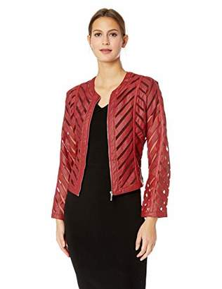 Yoki Women's Faux Leather Mesh Jacket