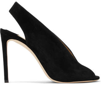 Jimmy Choo Shar 100 Suede Slingback Pumps - Black