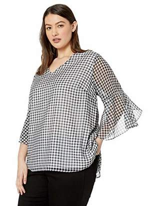 Calvin Klein Women's Small Gingham V-Neck Ruffle Sleeve