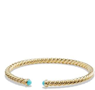 David Yurman Cable Spira Bracelet with Semiprecious Stones in 18K Gold