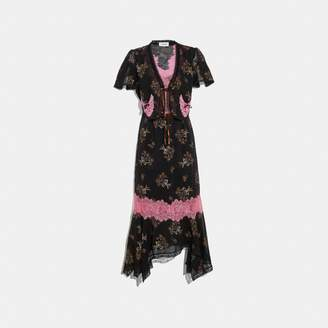 Coach Floral Bouquet Print Lace Trim Dress