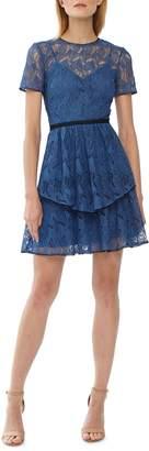 ML Monique Lhuillier Lace Tiered Skirt Cocktail Dress