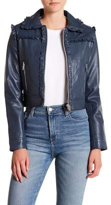 Walter W118 by Baker Jessie Ruffle Trimmed Leather Jacket