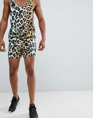 Asos DESIGN two-piece slim shorter shorts with elasticated waistband in leopard print