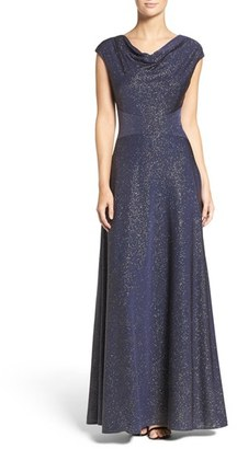 Women's Tahari Glitter Jersey Fit & Flare Gown $189 thestylecure.com