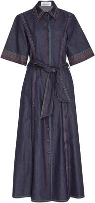 Prabal Gurung Contrast-Stitched Belted Denim Shirt Dress Size: 16