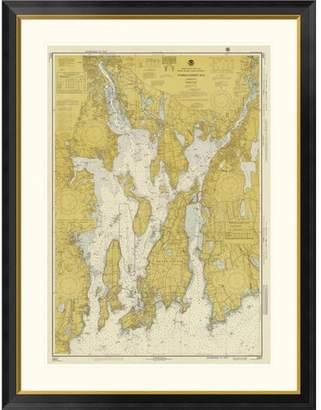 Global Gallery Nautical Chart - Narragansett Bay ca. 1975 - Sepia Tinted Framed Graphic Art