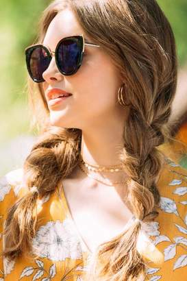 francesca's Josie Rounded Cat-eye Sunglasses - Black