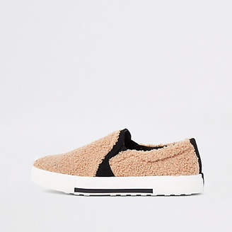 River Island Womens Beige shearing slip on sliders