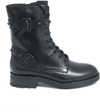Ash Black Leather Witch Biker Boots