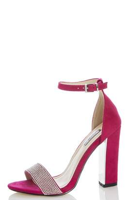 Quiz Pink Diamante Strap Heel Sandals