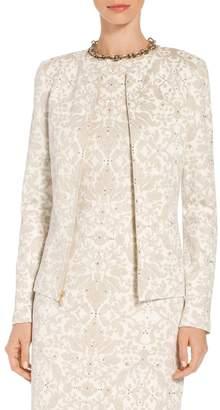 St. John Gold Leaf Brocade Knit Jacket