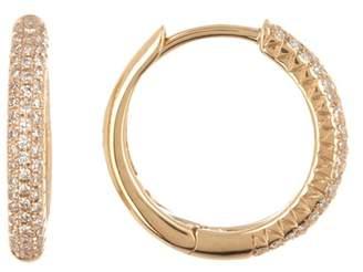 Ron Hami 14K Yellow Gold Pave Diamond Hoop Earrings - 0.21 ctw