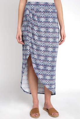 Abbeline Mini Chevron Printed Sarong Maxi Skirt