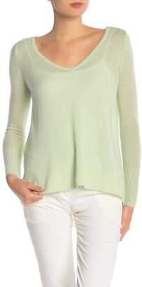Subtle Luxury Reversible Cashmere Asymmetrical Deep V-Neck Pullover Sweater