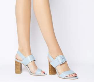 Office Honest Buckle Strap Block Heels Pale Blue Leather