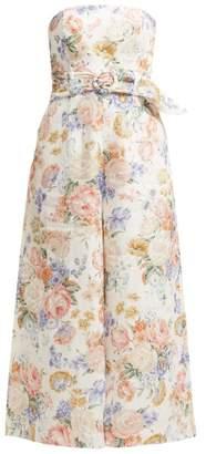 Zimmermann Bowie Floral Print Linen Jumpsuit - Womens - Cream Print