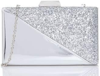 Quiz Silver Metallic Glitter Box Bag