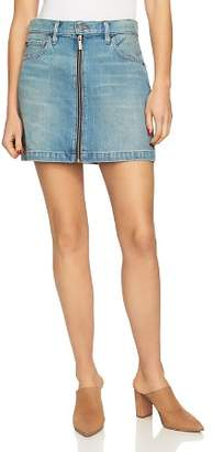 1 STATE 1.STATE Zip-Front Denim Mini Skirt