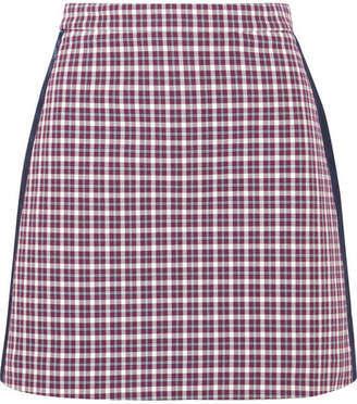 Burberry Satin-trimmed Checked Cotton-blend Mini Skirt