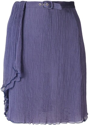 Giorgio Armani Pre-Owned creased belted skirt