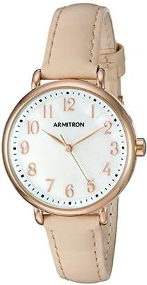 BEIGE Armitron Women's 75/5404MPRGBH Easy To Read Rose Gold-Tone and Leather Strap Watch