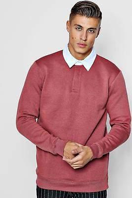 boohoo NEW Mens Fleece Slim Fit Rugby Top in Cedar size Xl