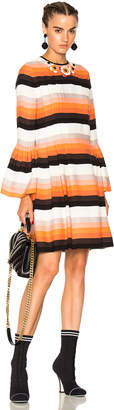 Fendi Striped Long Sleeve Mini Dress