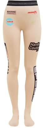 Marine Serre Formula 1 Logo Print Leggings - Womens - Beige Multi