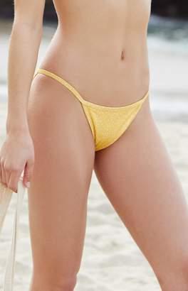 La Hearts Contrast Binding Yellow and White Cheeky Bikini Bottom