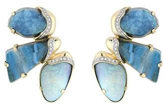 Kara Ross Petra Mosaic Raw Stone Earrings with Opal, Azurite Malachite, Chrysocola and Diamonds set in 18k Gold