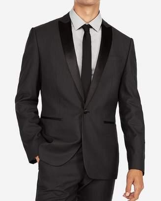 Express Slim Charcoal Dobby Wool-Blend Tuxedo Jacket